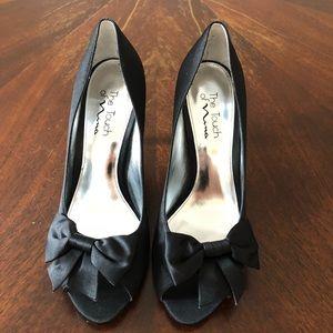 Nina Black Satin Bow Heels